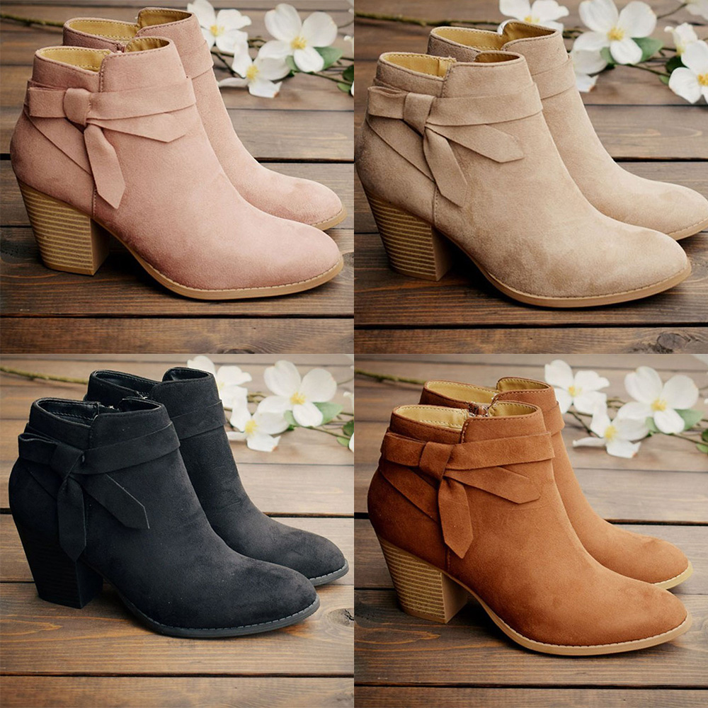 Details about  /Women Ladies Zipper Suede Booties Casual Block Chunky Heel Bow Ankle Boots Shoes