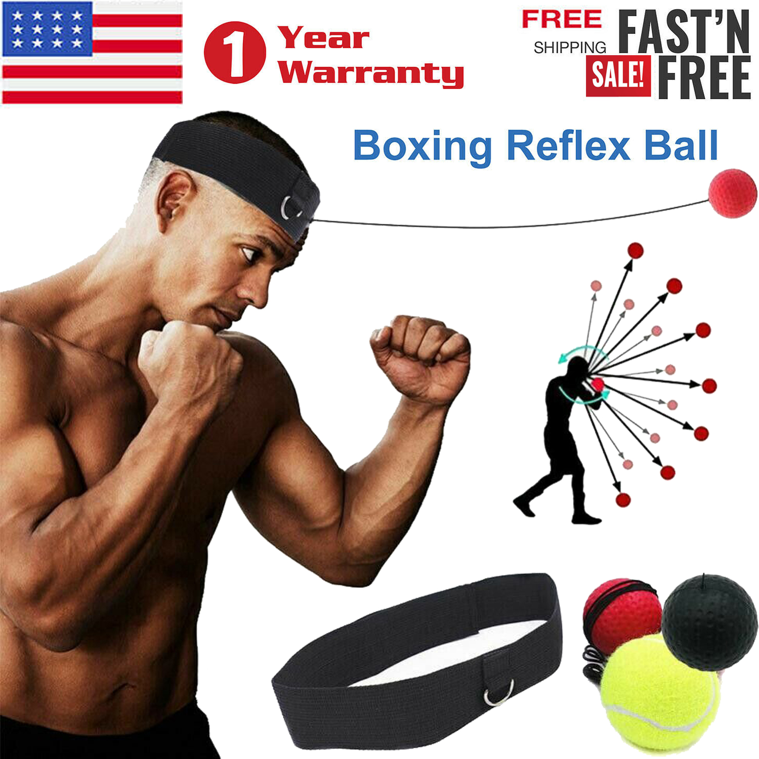 Boxing Punch Exercise Fight Ball Head Band Reflex Speed Training Speedball Boxer