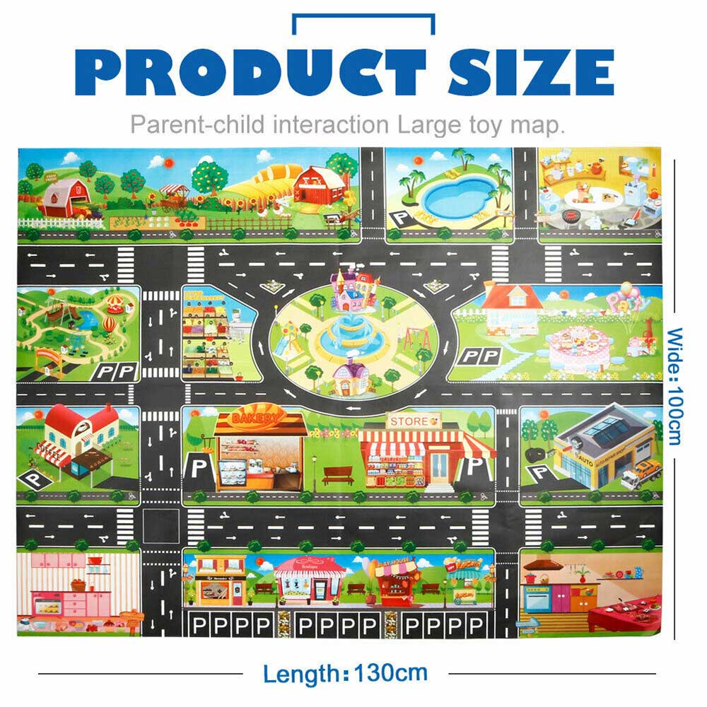 Kids House Traffic Road Signs Car City Scene Educational Baby Play Mat Carpet UK