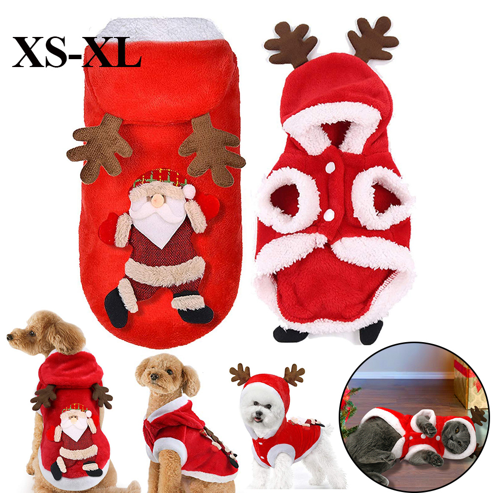Christmas Pet Dog Cat Clothes Warm Deer Horn Hoodie Kitten Xmas Costume Outfits 8