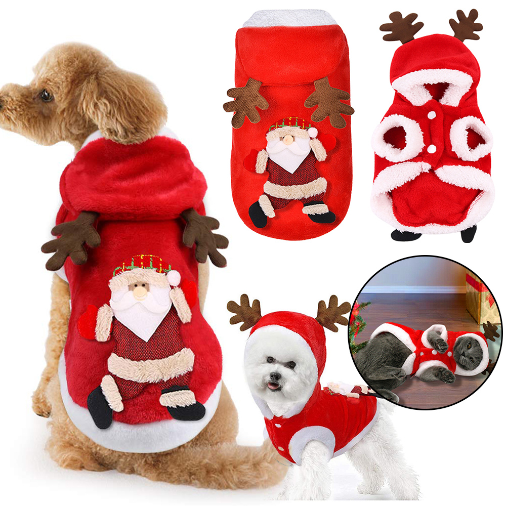 Christmas Pet Dog Cat Clothes Warm Deer Horn Hoodie Kitten Xmas Costume Outfits 11