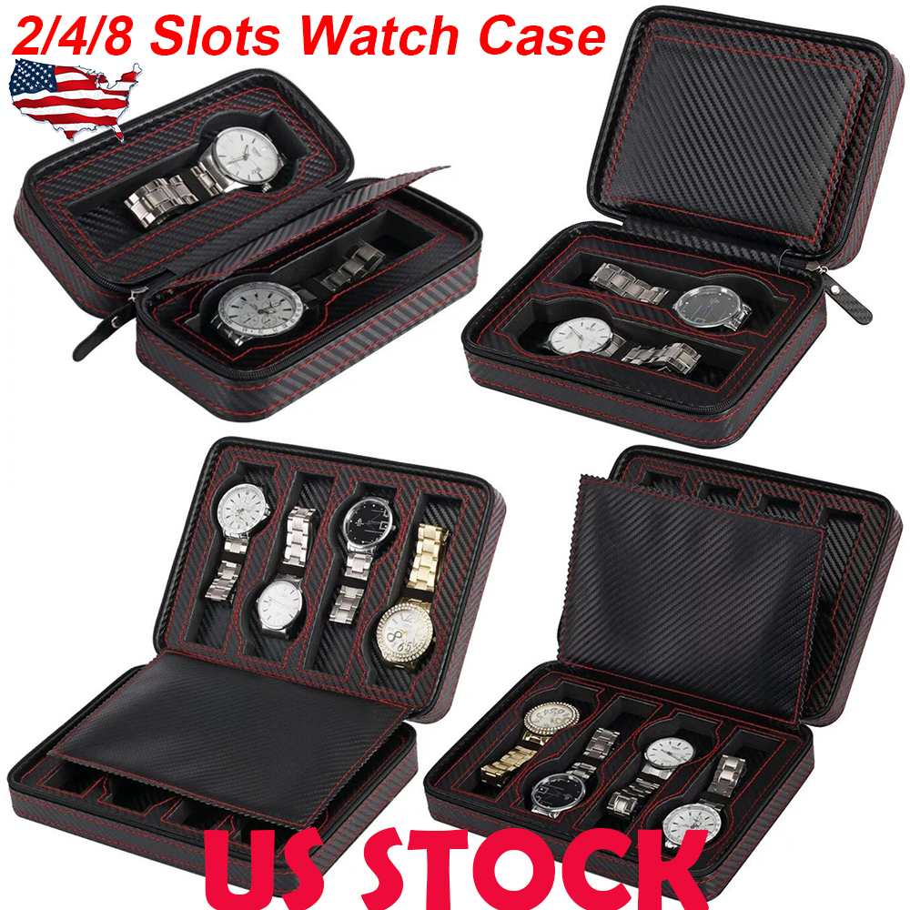 Details About Usa 2 4 8 Slots Fibre Pu Leather Watch Travel Case Watch Storage Box Organizer