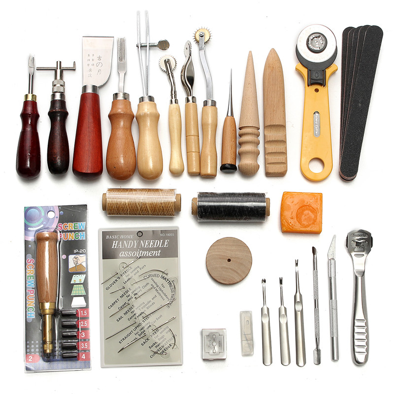 37pc Leather Craft Stamps Working Saddle Making Carving Leather Tools Kit Set