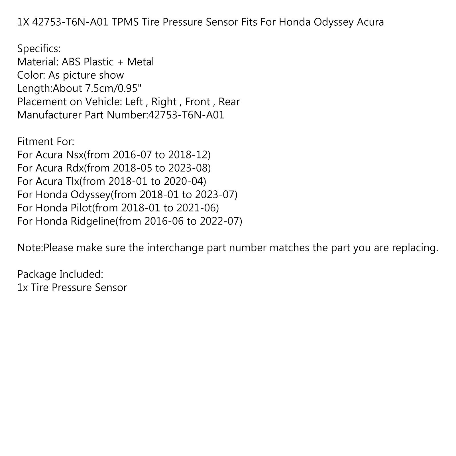 1PCS 42753-T6N-A01 TPMS Tire Pressure Sensor Fits For