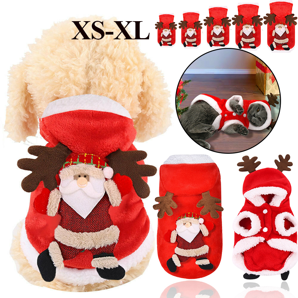 Christmas Pet Dog Cat Clothes Warm Deer Horn Hoodie Kitten Xmas Costume Outfits 9