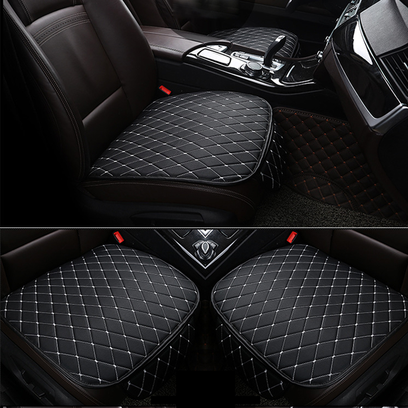 Universal PU Leather Car Cushions Backless Front+Back Seat Covers Full Set Black