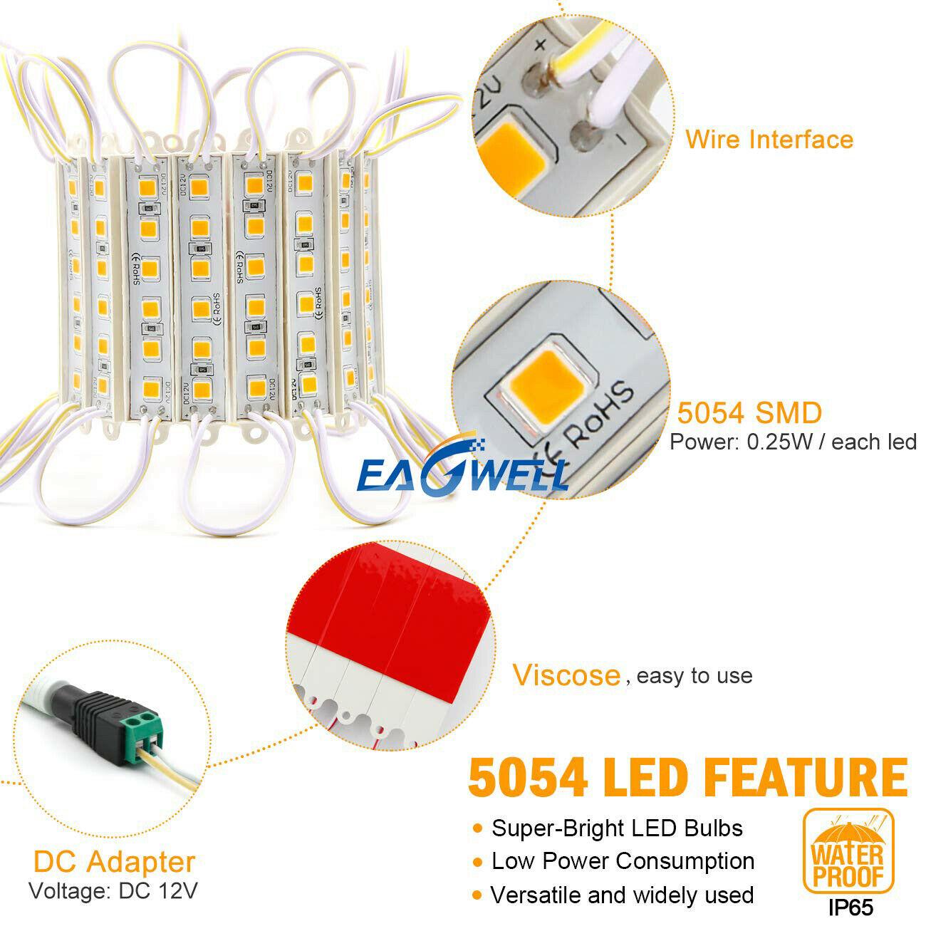 10FT-160FT Super Bright 5054 SMD 6 LED Module Cabinet Window Light Lamp White US