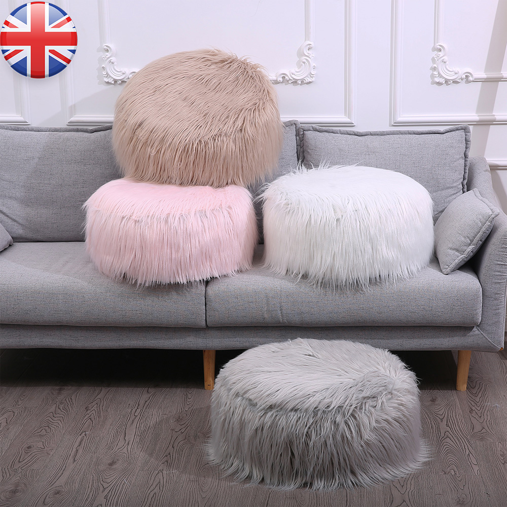Round Beautify Faux Fur Pouffe Beanbag Footstool Stool Fluffy Snow Leopard Print Chair
