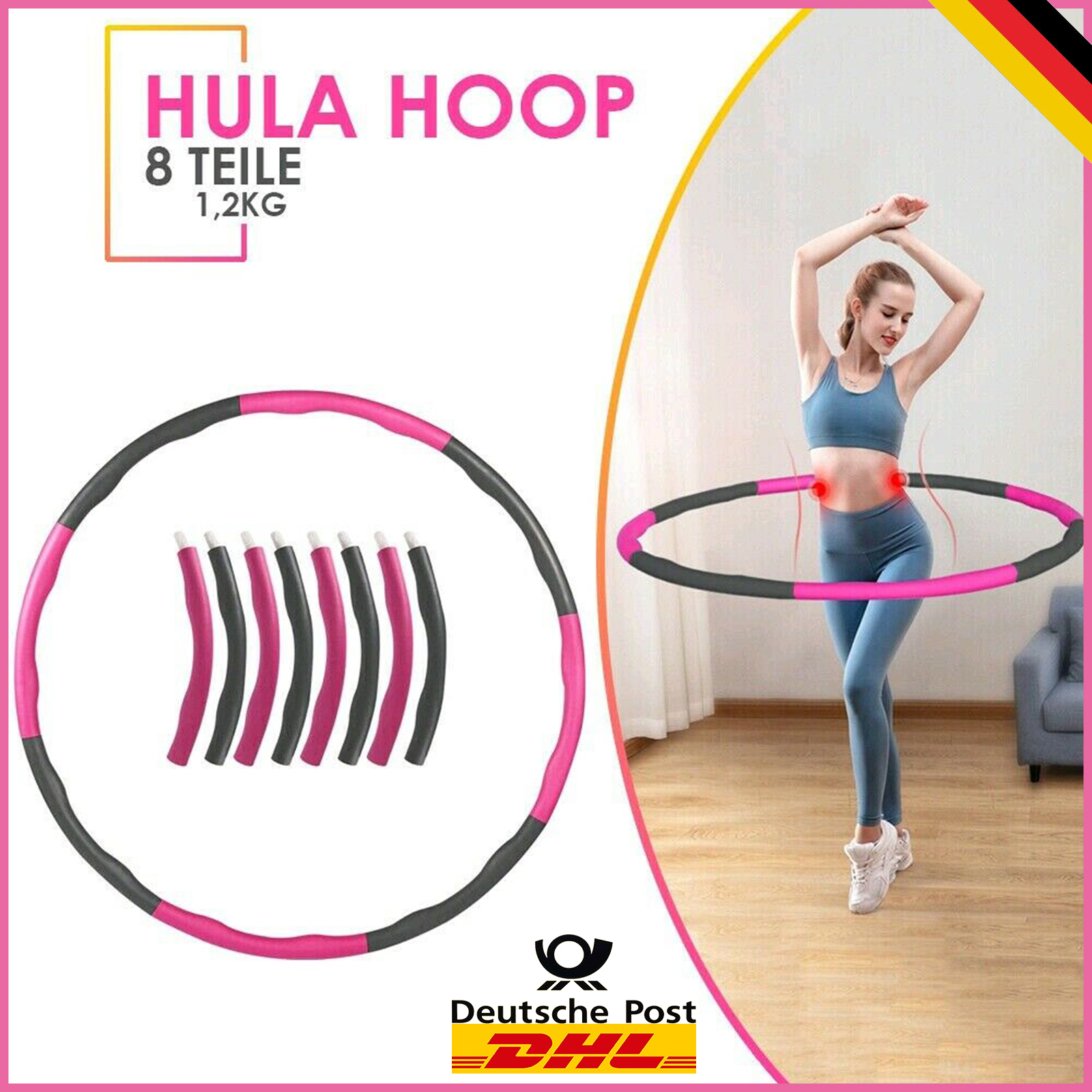 8 Teile Hula Hoop Reifen Fitnesstraining Sport Einstellbar Gewichthula Gymnastik