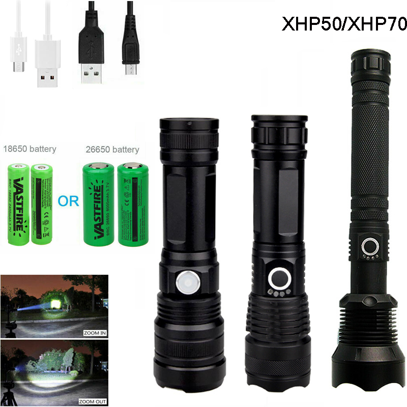 90000LM XHP70 XHP50 Super Bright LED Torch Flashlight Tactical Zoom Rechargeable