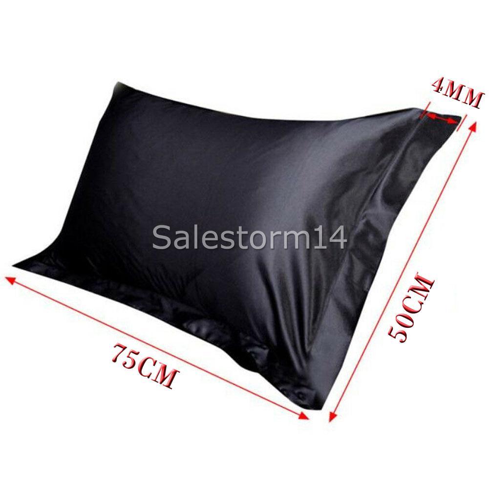 2 Pcs 100 Satin Silk Pillowcase Bedroom Queen Pillow