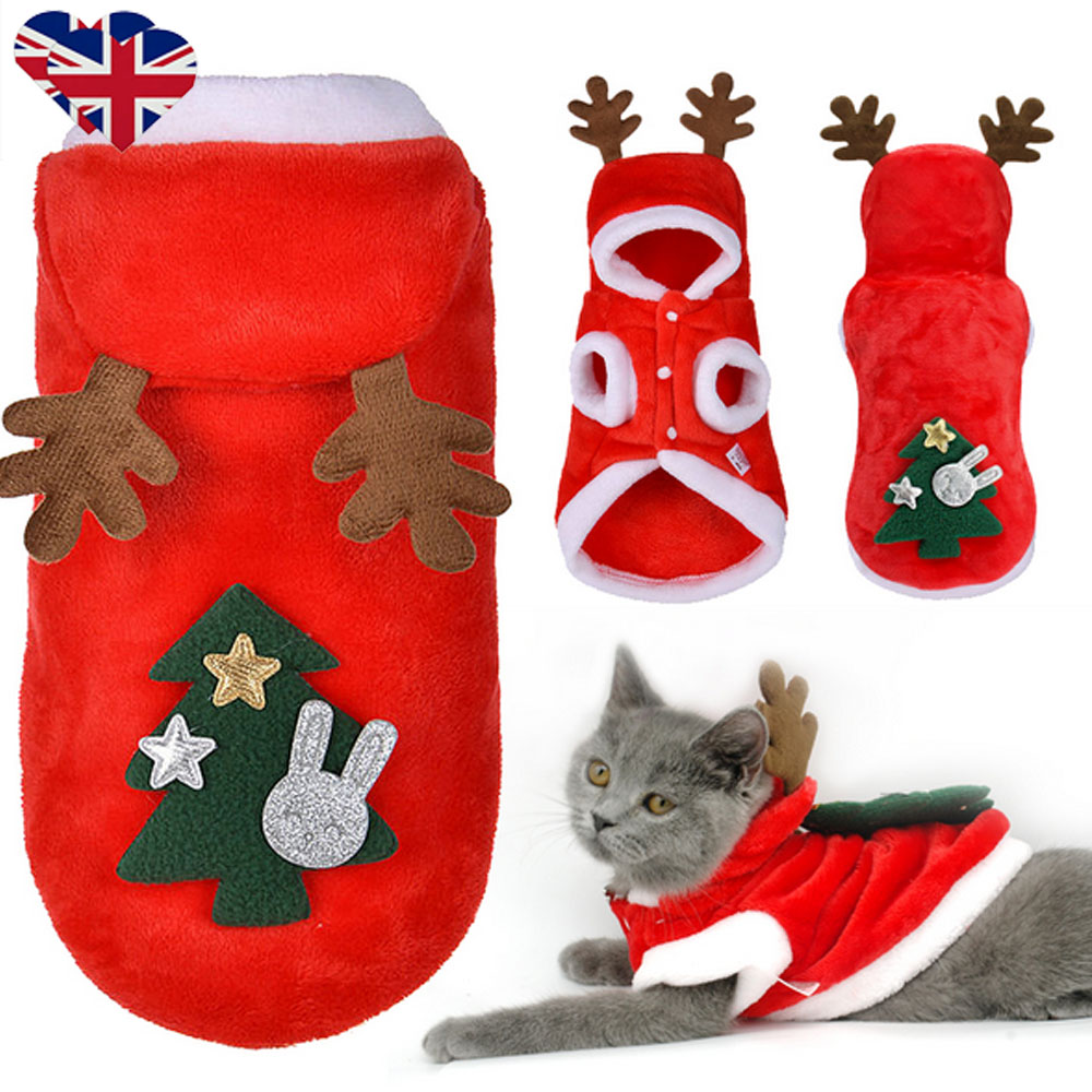 Christmas Pet Dog Cat Clothes Warm Deer Horn Hoodie Kitten Xmas Costume Outfits 2