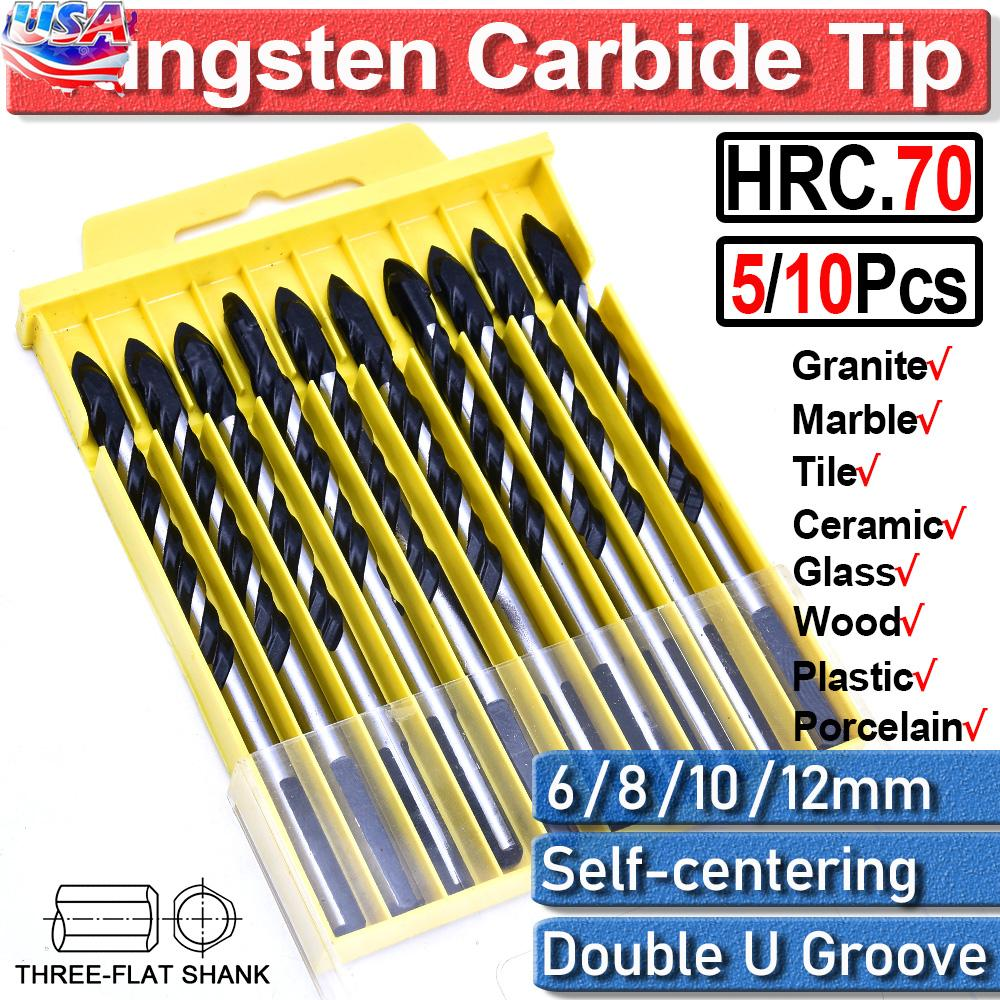 US 5//10Pcs Tungsten Carbide Tip Tile Drill Bits For Wall Glass Wood 6 8 10 12mm