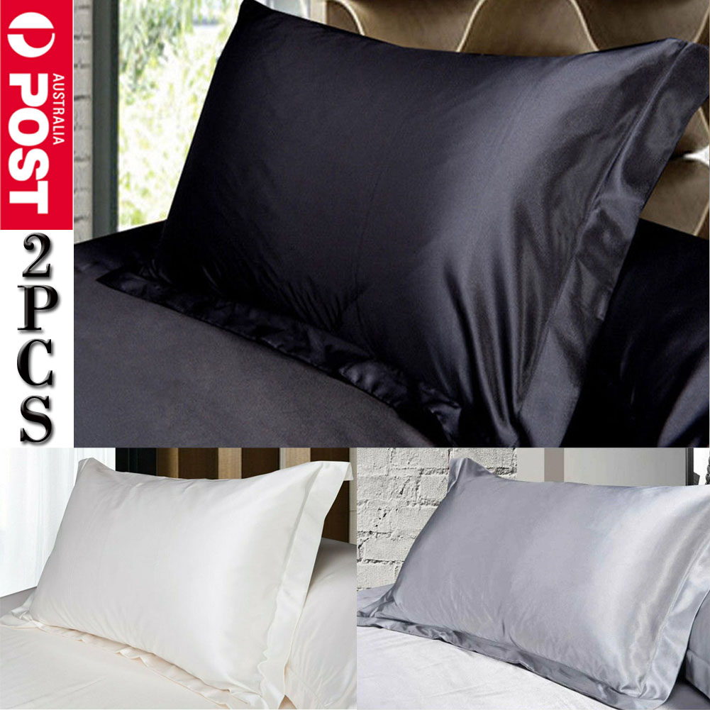 Summer Silk Satin Soft Pillow Cases Cover Queen DIY Bed Cushion Cover Pillowcase