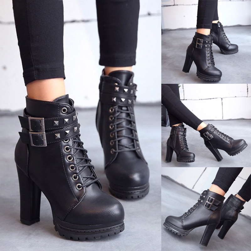 Womens Zipper Chunky High Block Heel Ankle Boots Round Toe Punk Party Shoes Size