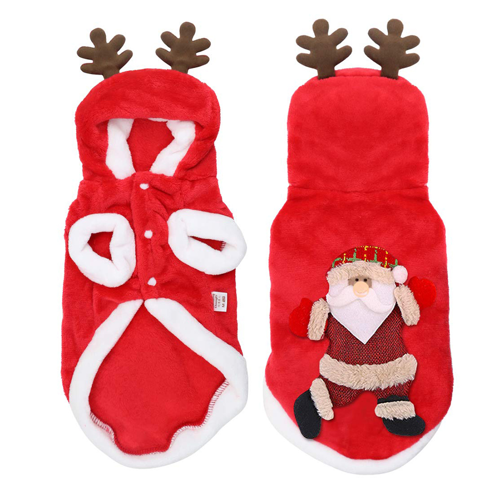 Christmas Pet Dog Cat Clothes Warm Deer Horn Hoodie Kitten Xmas Costume Outfits 10