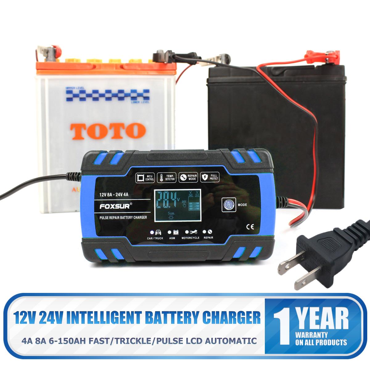 Details about 4A 8 Amp Intelligent Car Battery Charger Pulse Repair Starter 12V24V AGMGEL US