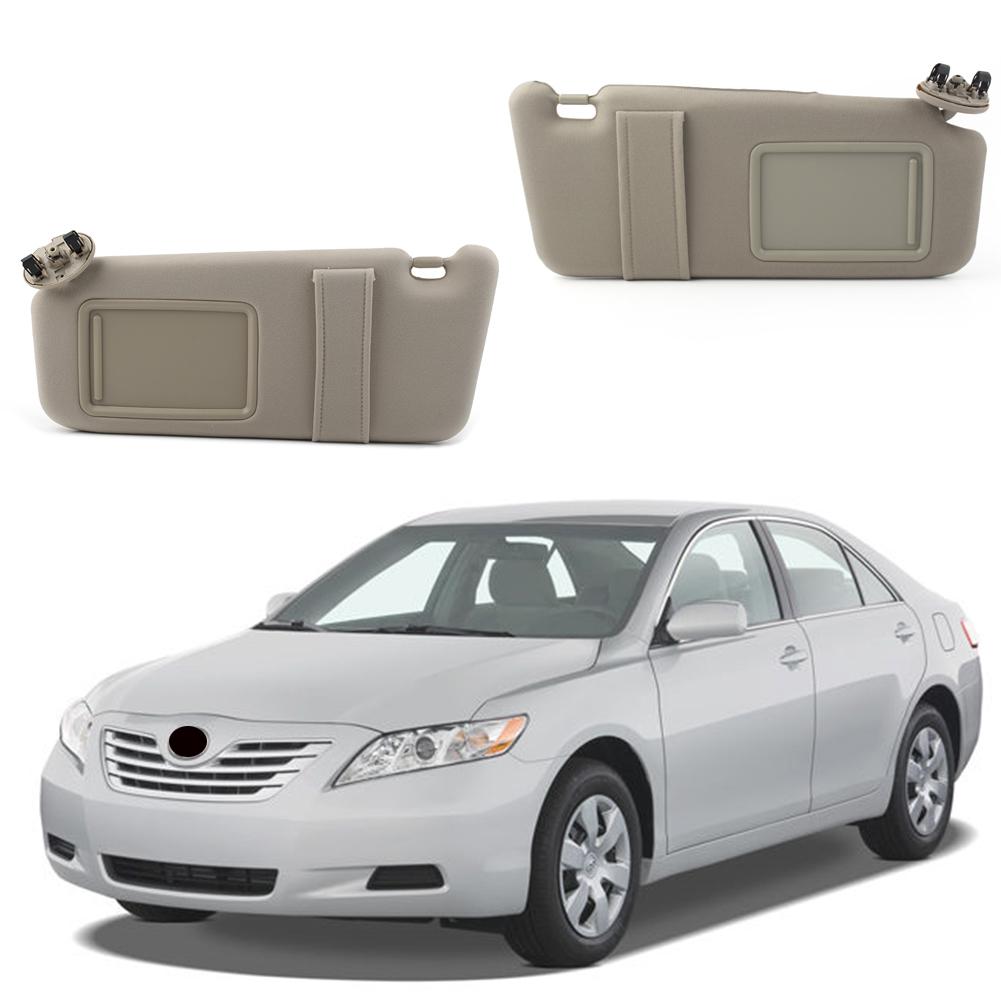 Right for 2007-2011 08 Toyota Camry With Vanity Light Gray Sun Visor Left