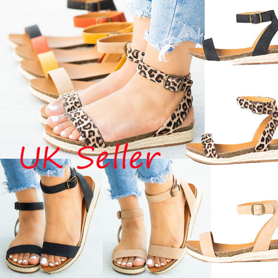 Womens Floral Gladiator Sandals Summer Fashion Beach Holiday Shoes UK Seller