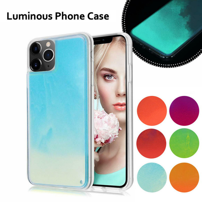 Gradient Neon Liquid Quicksand Phone Case