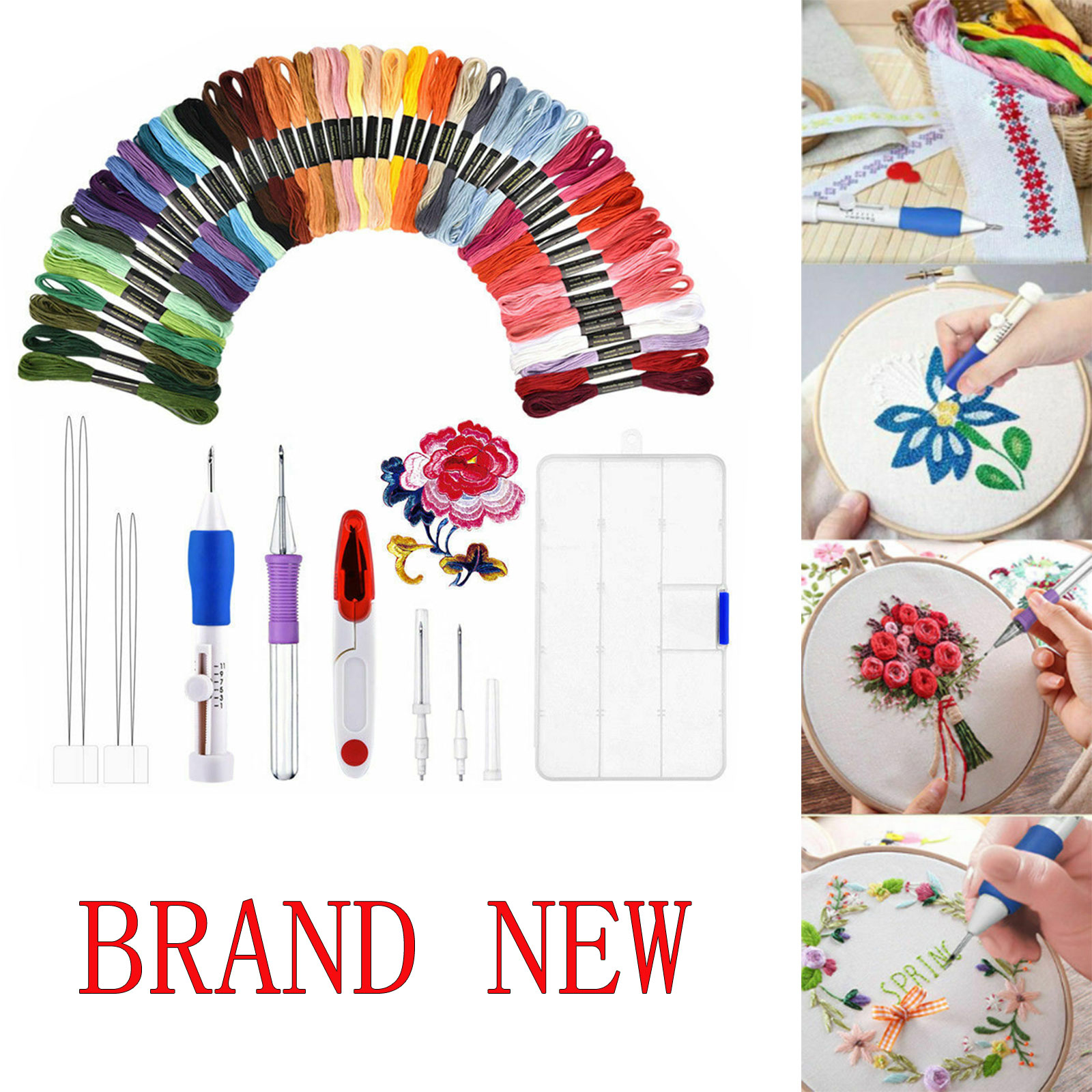 Storage Case for Beginner 50 Color Threads Magic DIY Embroidery Pen Punch Needle Sets with 2 Butterfly Embroidered Patterns Style 2