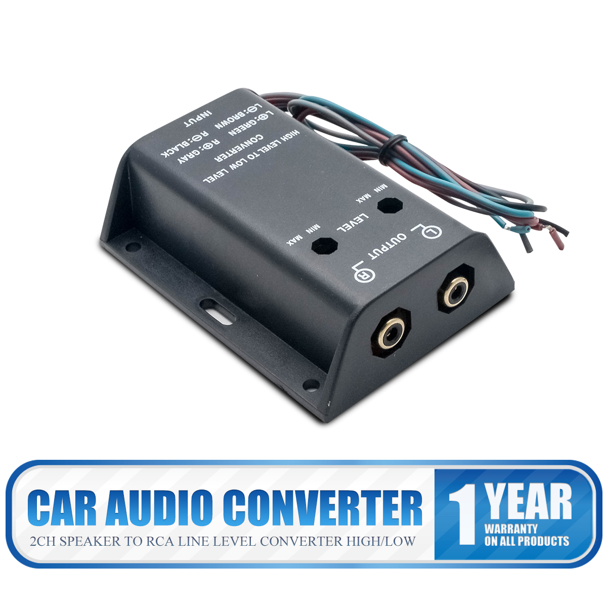 Car Speaker to RCA Level Adaptor Adapter High to Low Auto Amp Line Out Converter