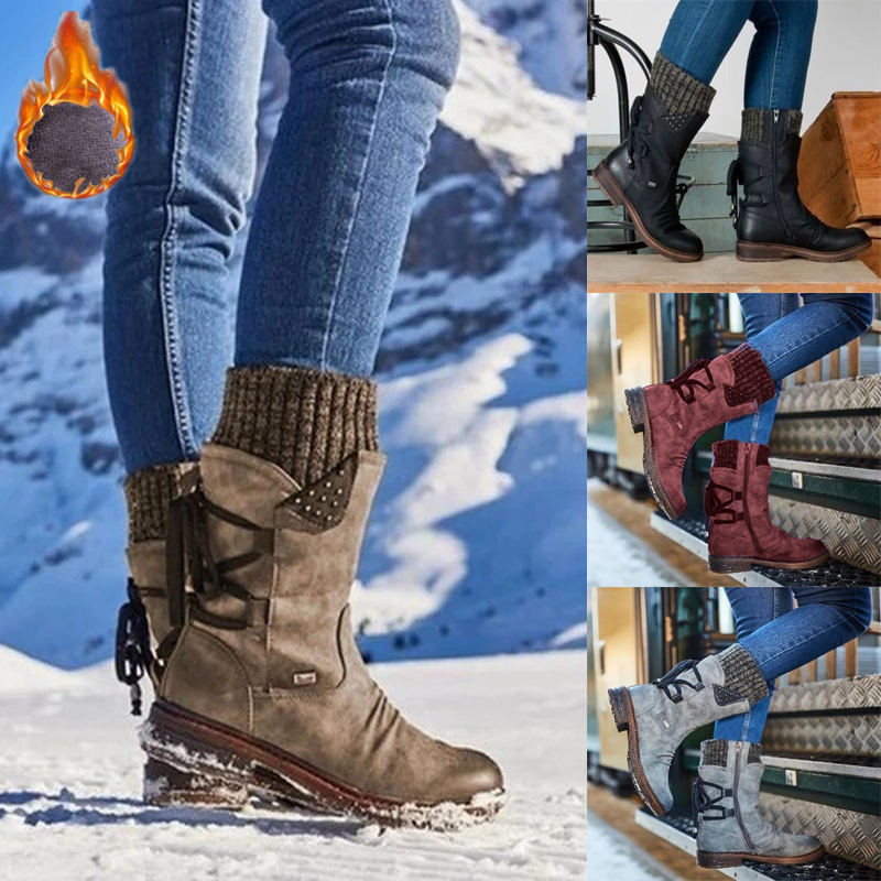 Women Winter Mid Calf Ankle Boots Ladies Warm Fleece Lace Up Casual Biker Shoes