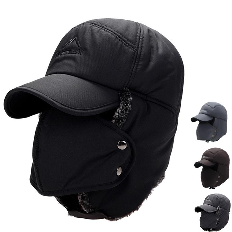Mens Ear Flap Peaked Hat With Mask Hood Cap Winter Warm Snow Ski Trapper Cap