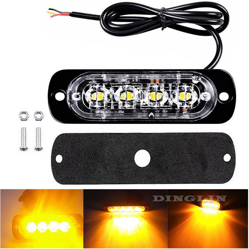 2 x 12V 24V 4 LED Amber Strobe Flashing Recovery Lightbar Truck beacon Lights New