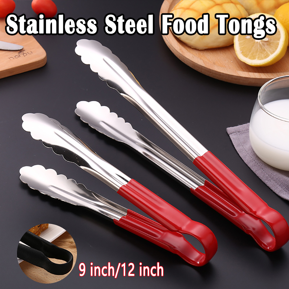 "Colour Coded Stainless Steel Locking Food Serving Tongs 9/"" //12/"" From 2 Colours"
