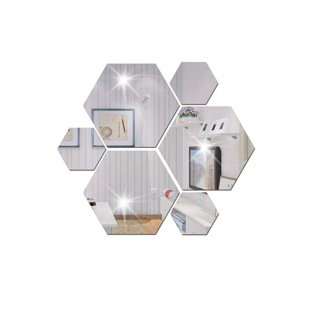 3D Mirror Hexagon Sqare Wall Stickers Vinyl Removable ...