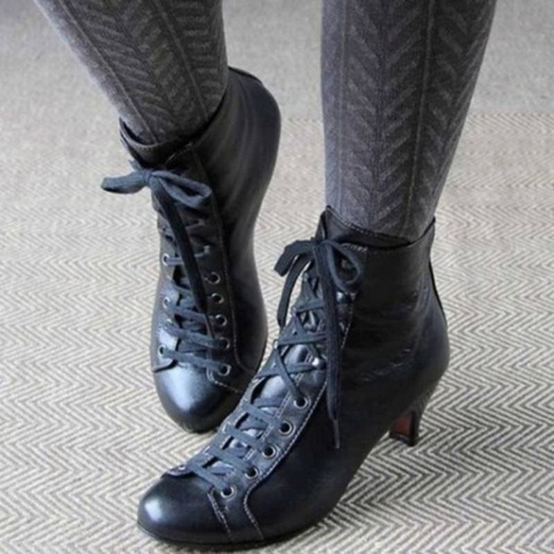 Women Victorian Gothic Ankle Boots Kitten Heel Ladies Leather Lace Up Shoes  New