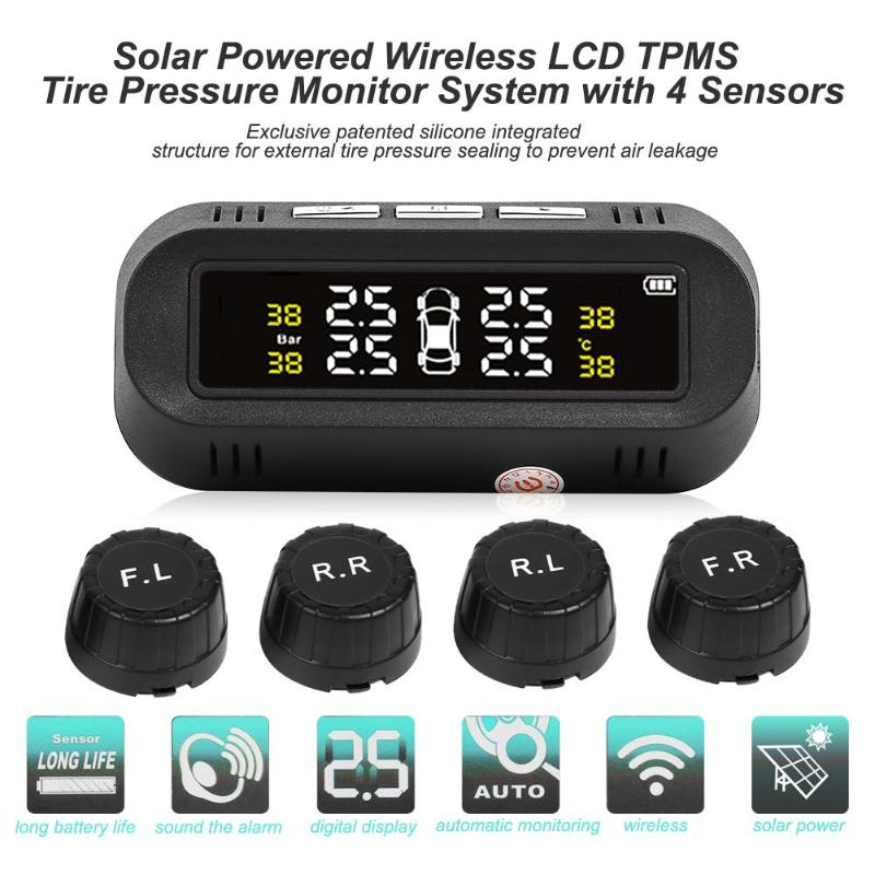 Car Auto Solar Wireless LCD TPMS Tire Pressure Monitor System 4 External Sensor