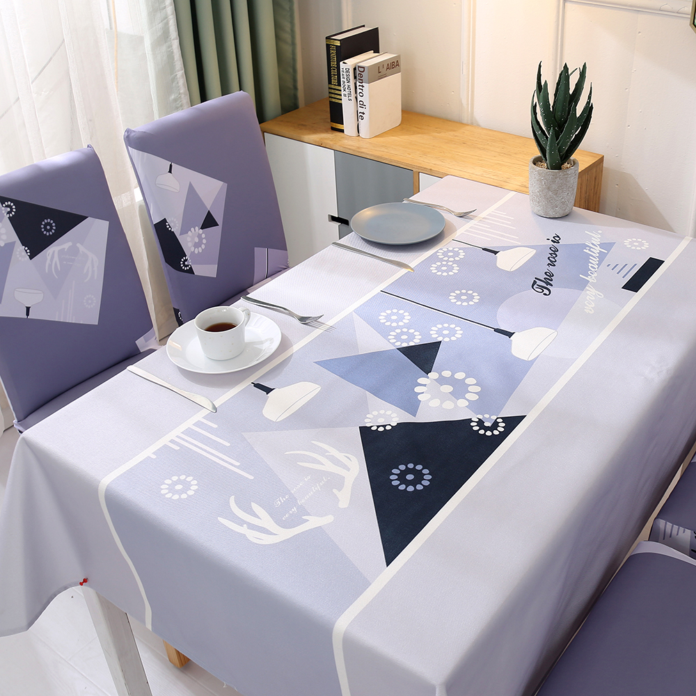 Ikea Eetkamer Stoelhoezen.Tablecloth Dining Chair Covers Set Pastoral Plant Stretch Table