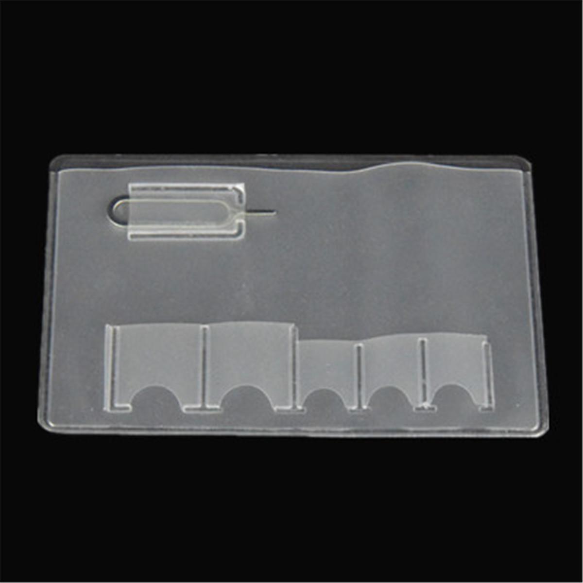3//5PCS Transparent Wallet SIM Card Holder Storage Case For 5 Micro Sizes