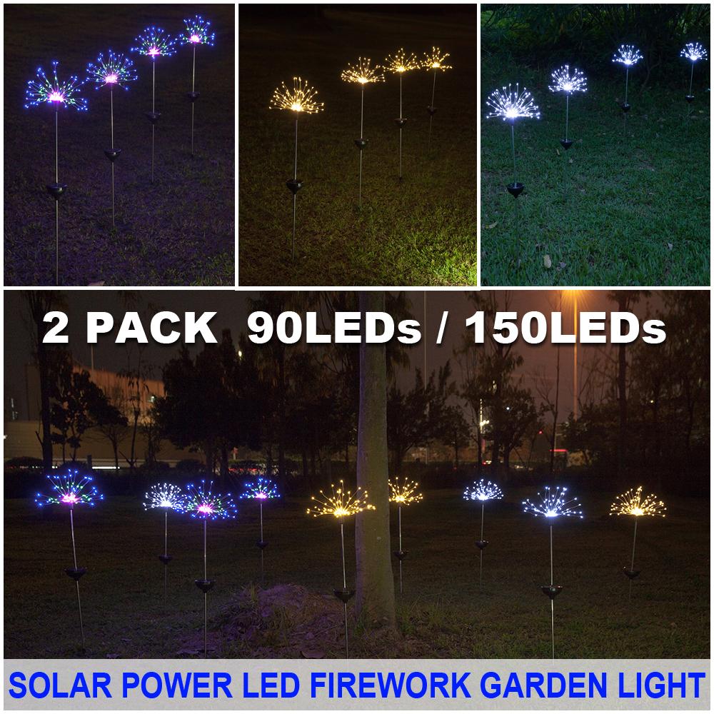 150//90 LED Solar Firework Lights Waterproof Outdoor Path Lawn Garden Decor Lamp