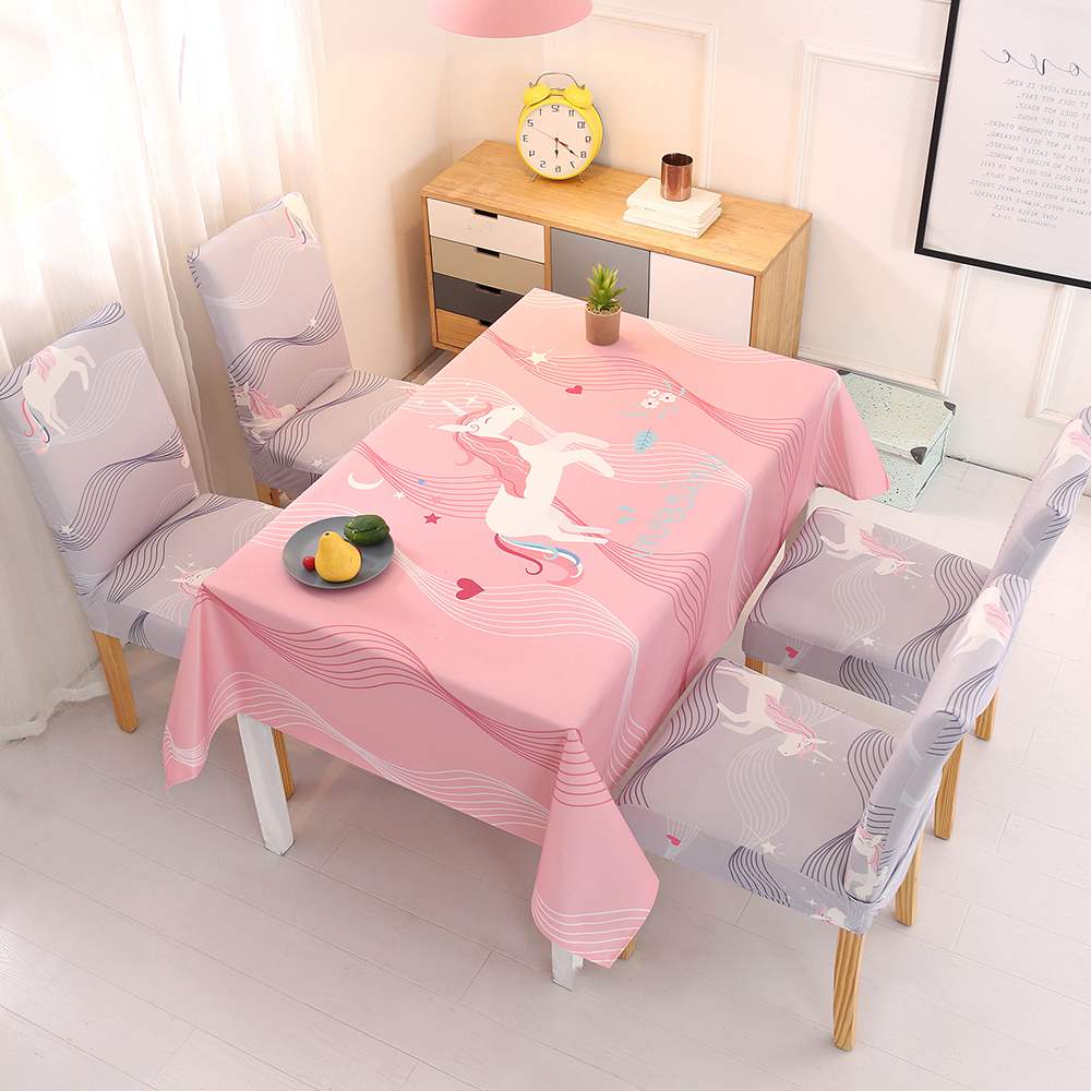 Outstanding Tablecloth Dining Chair Covers Set Unicorn Printed Stretch Caraccident5 Cool Chair Designs And Ideas Caraccident5Info