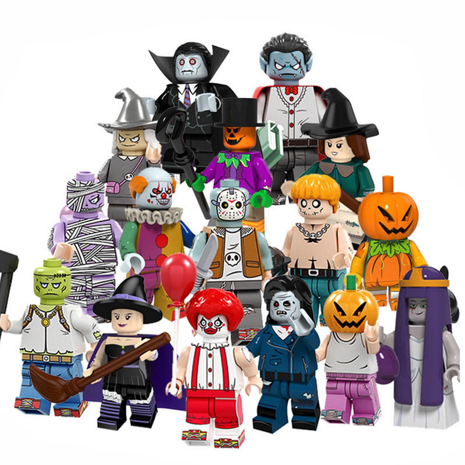 Mini Figure Building Blocks 16PCS Halloween Vampire Demon Ghost Witch  DIY Toy