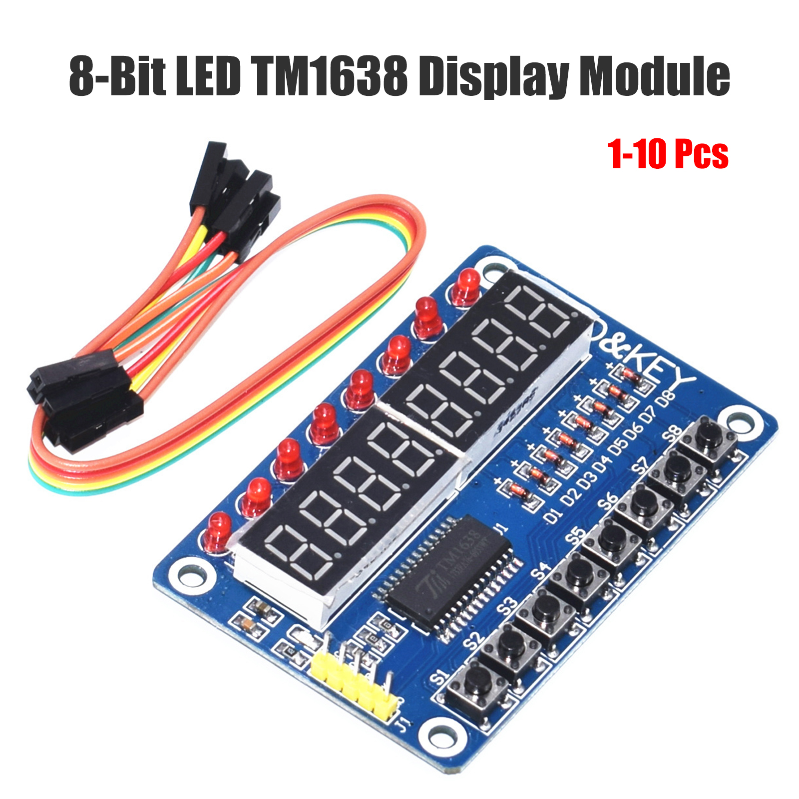 Details about New Key Display For AVR Arduino New 8-Bit Digital LED Tube  8-Bit TM1638 Module