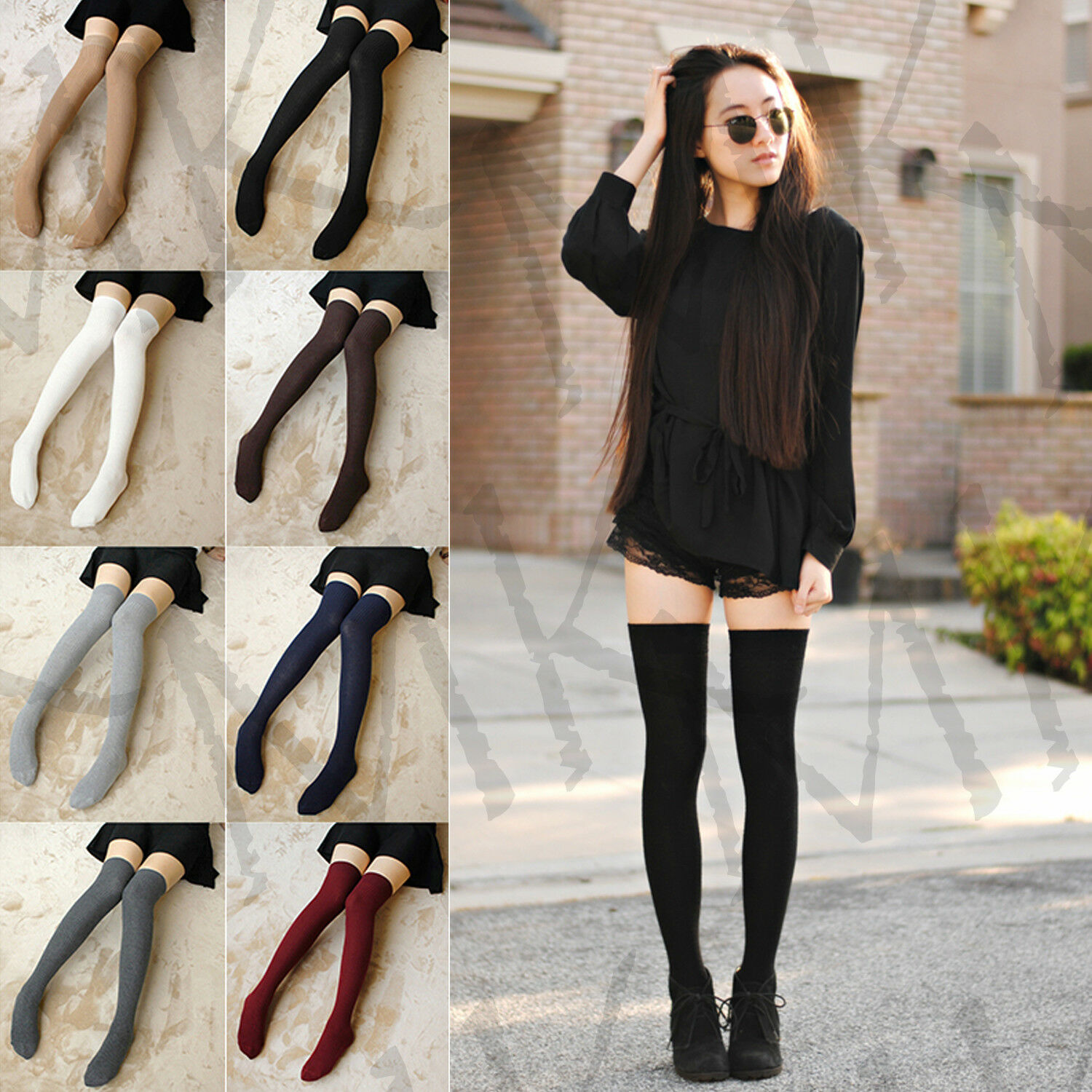 Womens Over Knee Long Casual Ladies Thigh High Plain Cotton Over knee Socks 4-7