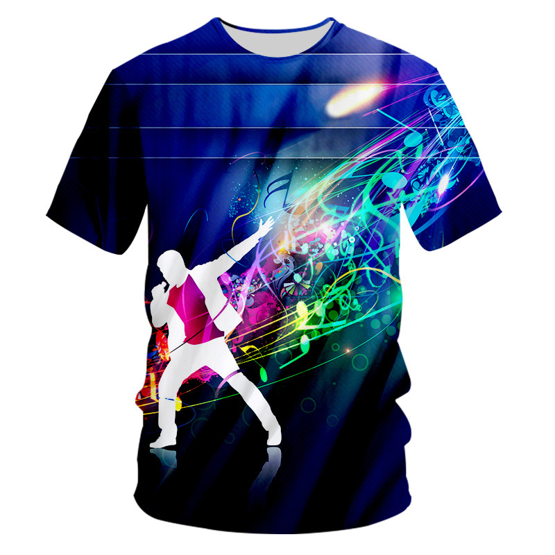 Funny Festival 3D Printed Colorful Graphics Men Sport Summer T-Shirt Casual Tops