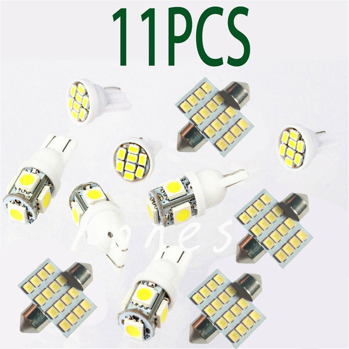 11pcs White LED Lights Interior Package for T10 /& 31mm Map Dome License Plate