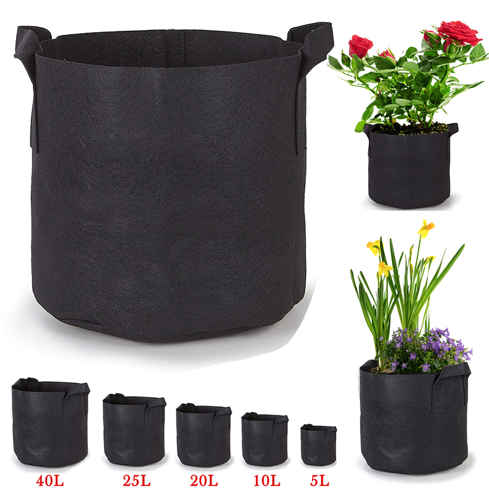 Black Pots Basket Plant Vegetable Fabric Pouch Round Aeration Container Grow Bag
