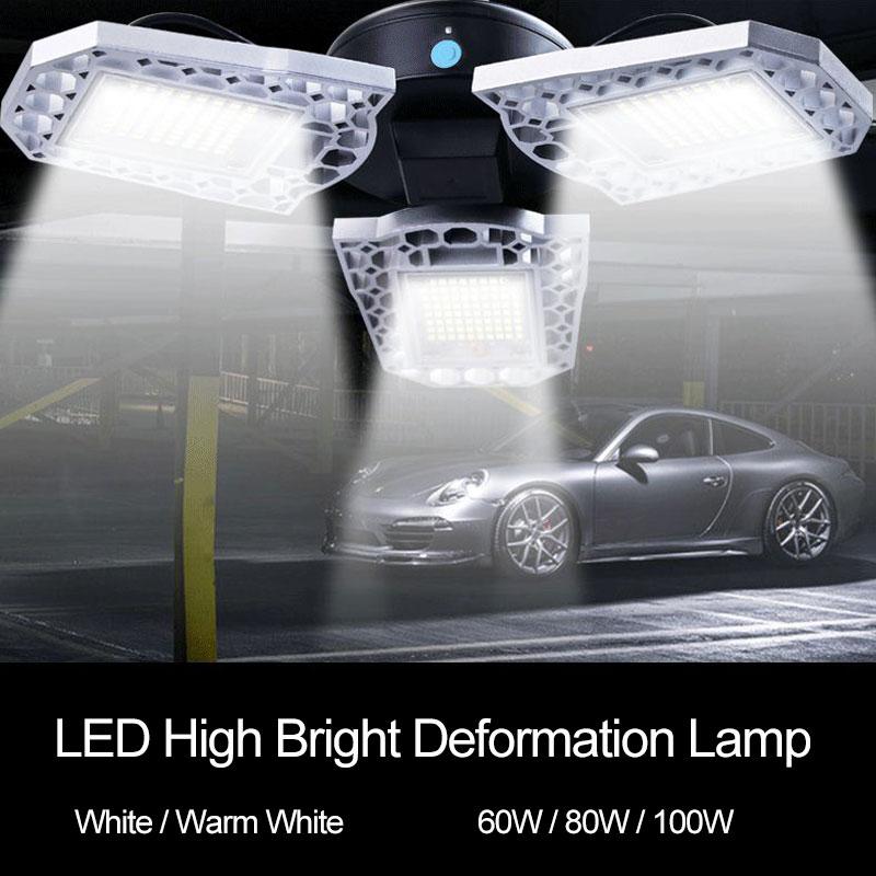 100W LED Garage Ceiling Lights 10000LM Motion Activated Light E26//E27 Screw Socket Warehouse Deformable LED Shop Lights for Garage ect LED Garage Lights