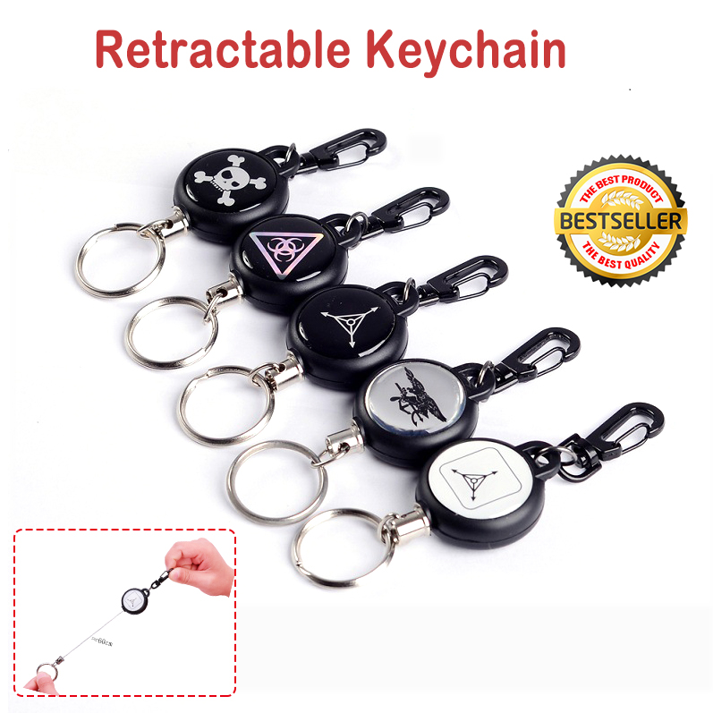 Stainless Pull Ring Retractable Key Chain Recoil Keyring Heavy Duty Nylon Rope