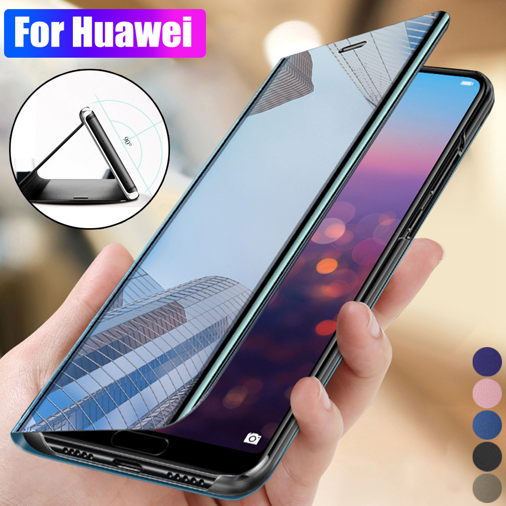 Compatible with Huawei P20 Pro Case Mirror PU Leather Flip Case Stand Clear View Mirror Cover PC Protective Case with Hard Stand Function for Huawei P20 Pro