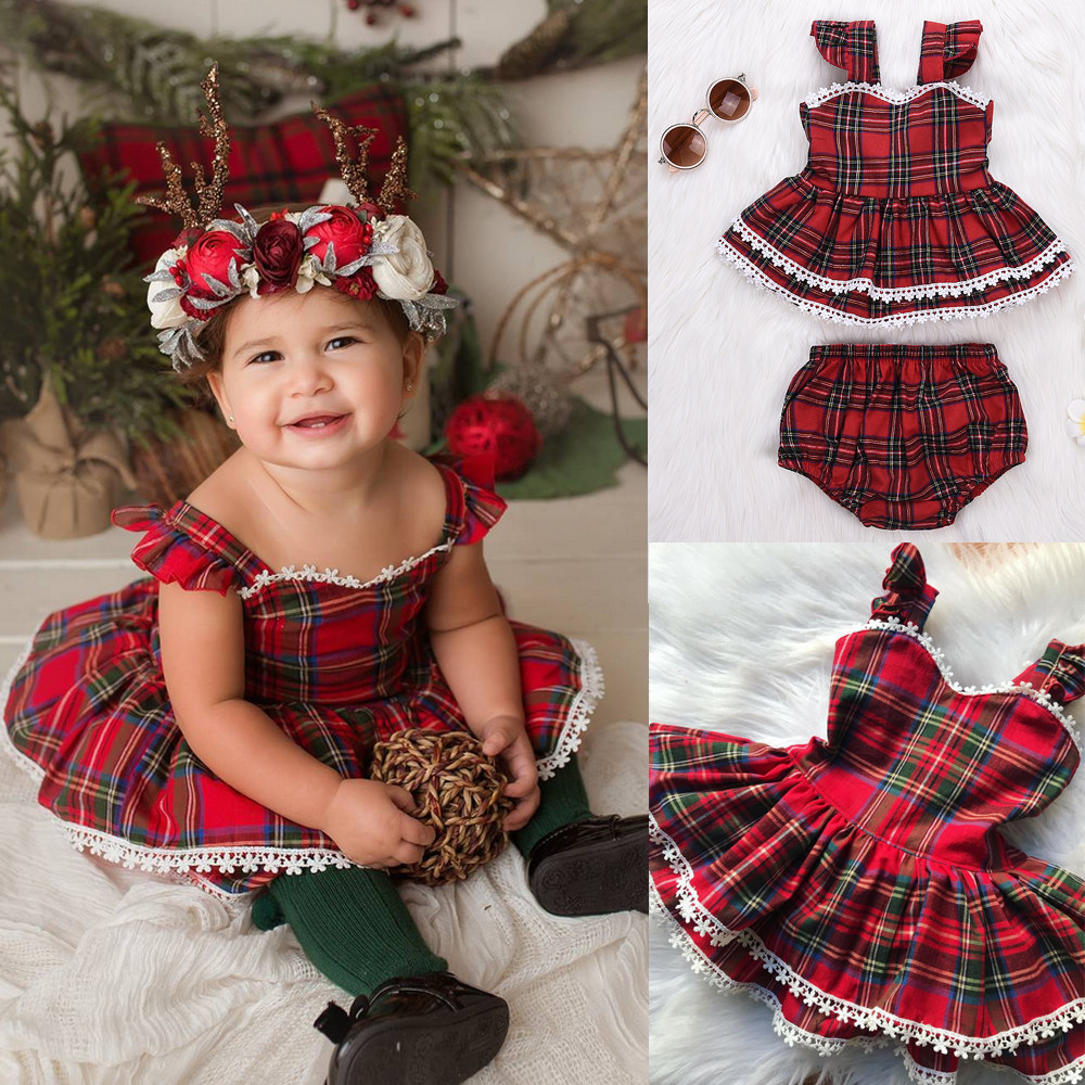 Baby Kids Girls Solid Off Shoulder Tops+Plaid Bowknot Pants Summer Outfits Set