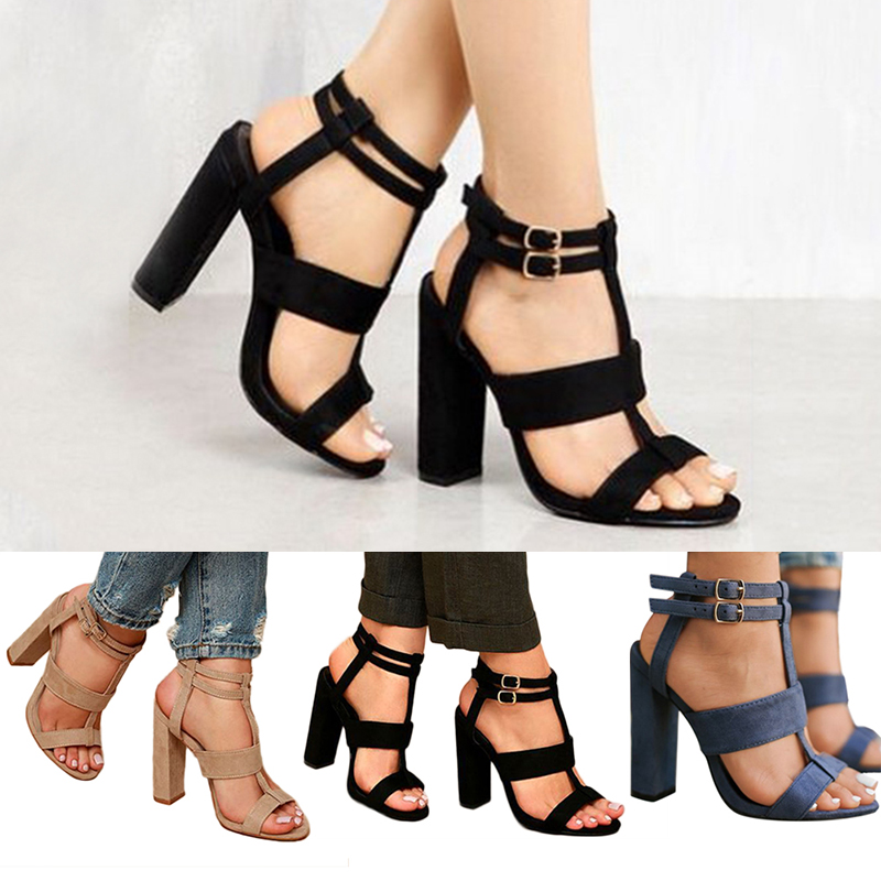 Details about Women High Block Heel Ankle Strap Sandals Buckle Ladies Peep Toe Shoes Size 3 8