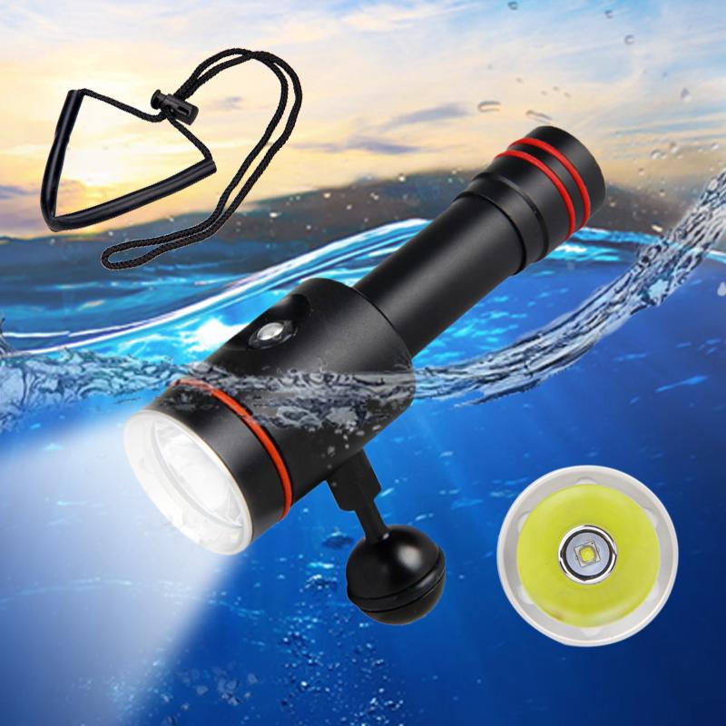 Super Bright New Diving Underwater 200m 8000lm Xm-l L2 LED 2x18650 Scuba Diving Flashlight Torch Lamp++charger Suit