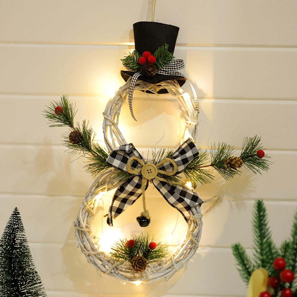 Led Christmas Wreath Snowman Shape Rattan Garland Door Window Wall Hanging Decor Ebay